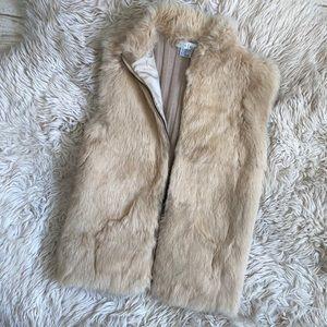 White House black market Tan fur vest